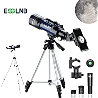 ESSLNB Telescope 70mm Telescope for Astronomy with Phone Adapter Adjustable Tripod 3X Barlow Lens Moon Filter