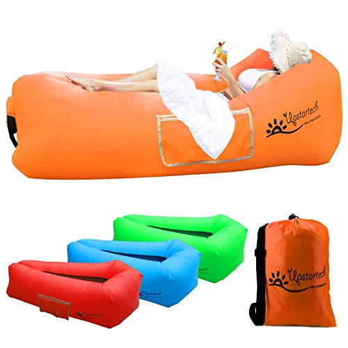 Canapé Hamac Gonflable Chaise Longue Air Sofa Matelas gonflable rapide portatif extérieur avec tissu résistant aux déchirures, canapé imperméable parfait pour la randonnée, le camping, les pique-niques, la plage
