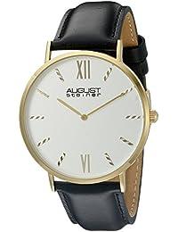 August Steiner Reloj de cuarzo para hombre, esfera analógica plateada y correa de piel de color negro