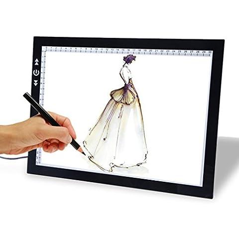 Desalen Ultra sottile luminosità registrabile LED Disegno Copia Tracing Stencil Consiglio Tabella del LED Tatuaggio scatola chiara Pad A4