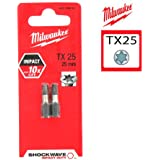 2 Embouts Torx MILWAUKEE TX25 25mm SHOCKWAVE 4932352443