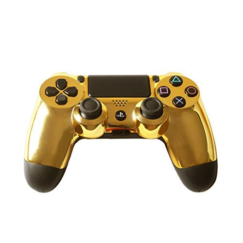 TQS Chrome Golden Replacement Housing Front Shell Case Cover Compatible Playstation 4 PS4 Controller