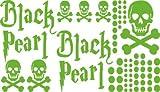Autoaufkleber Sticker Aufkleber Set für Auto Schriftzug Black Pearl Totenköpfe (063 lindgrün)