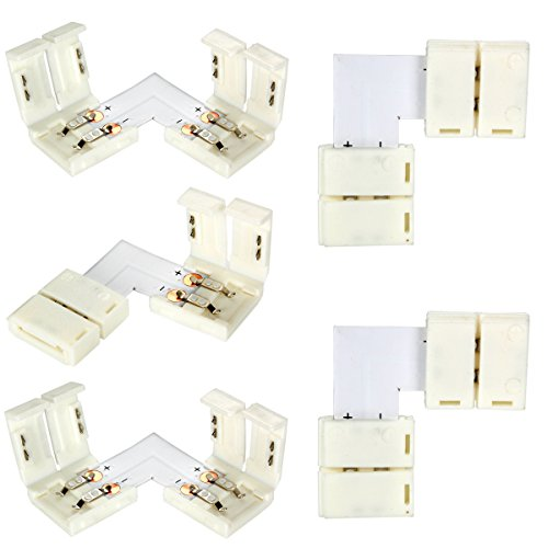 GreenSun LED Lighting 5 Set Eckverbinder L-Form 2Pin 10mm Schnellverbinder Verbinder Verteiler Adapter fuer LED Strip Connector Lichtstreifen Leiste Streifen
