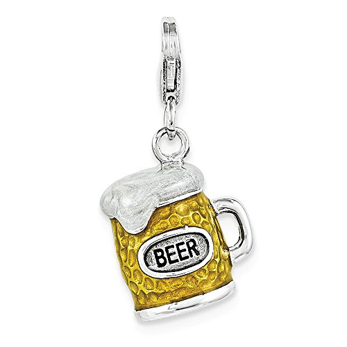 Sterling Silber Emaillierte Bier Becher w/Hummer Verschluss Charme Holiday Becher
