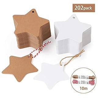 200 unidades. Estrella de papel de estraza colgante etiquetas Absofine regalo colgante con yute cordón 20 m para boda cumpleaños Navidad