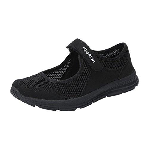 Smrbeauty scarpe con piatto sandali donna estive eleganti scarpe sportive, anti scivolo maglia velcro nuovo traspirante donne sandali spiaggia caviglia scarpe casual leggere (eu:36cn:37, nero)