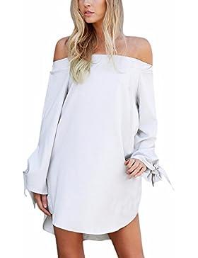 [Sponsorizzato]StyleDome Vestito Donna Abito Corto Elegante Manica Lunga Ragazza Moda Maglietta Bluse Sexy Casual Top