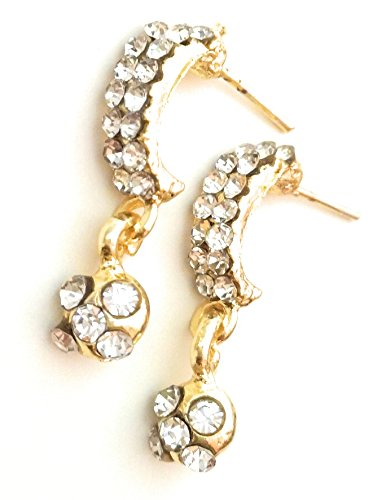Diamond Beaded Gold Trendy Stylish Fancy Party Wear Jhumki Earrings for Girls, Women And Ladies By Dipa Collection  available at amazon for Rs.160