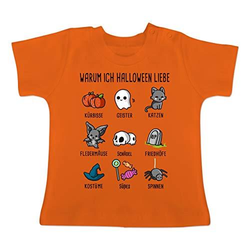 (Anlässe Baby - Warum ich Halloween Liebe - 3-6 Monate - Orange - BZ02 - Baby T-Shirt Kurzarm)