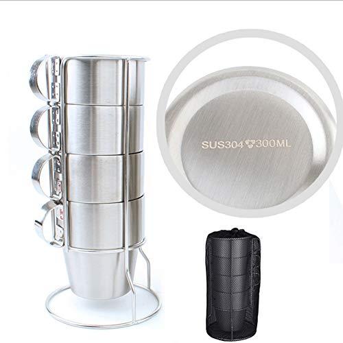 4 Stücke Stapelbare Edelstahl Kaffeetassen, Doppelschicht Wärmeisolierte Teetassen mit Metallständer für Camping Grill Outdoor Runder Griff