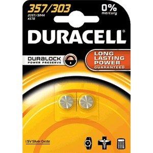 DURACELL 357/303 LOT DE 1 BLISTER = 2 PILES SILVER OXIDE 1,5V