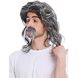 WIG ME UP ® - 91098-ZA63/ZA103 Perruque Longue Moustache Homme Gaulois Germain Barde beauf prolétaire années 70 Coupe mulet Gris moucheté