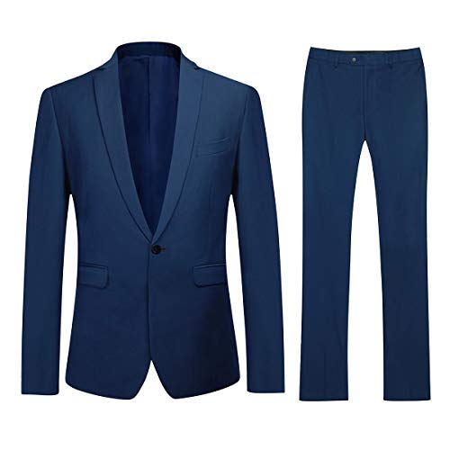 Mens Suits Tailored Fit 3 Piece Suit Formal Business Suits 1 Button Royal Blue