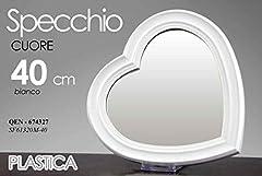 Idea Regalo - Gicos Specchio in plastica Forma Cuore 40 cm da Parete Bianco Shabby Chic QEN-674327