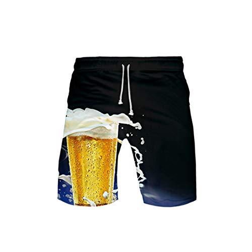 Sokmoop Oktoberfest Herren Badehose 3D Bier Gedruckt Strand Surf Schwimmen Laufen Board Shorts(Blau,XXL)