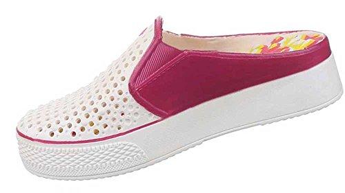 Damen-Schuhe Sandalen   schicke Sommerschuhe mit flachem Blockabsatz in verschiedenen Farben und Größen   Schuhcity24   Perforiertes Muster Pink