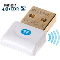 weddecor Blanc Mini Bluetooth 4.0 USB Clé Adaptateur - réseau sans fil connection compatible avec Windows 7/8/8.1/10 / xp vista 32 & 64-bit pour pc portable, PC