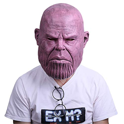 Thanos Bald Mask Avengers 3: Unendlicher Krieg Cosplay Hood Hero Halloween Horror Marvel Heroes Unendlichkeit Latexmaske Männer Perfekt für Karneval Kostüm für Erwachsene Unisex,Thanos-54cm~62cm