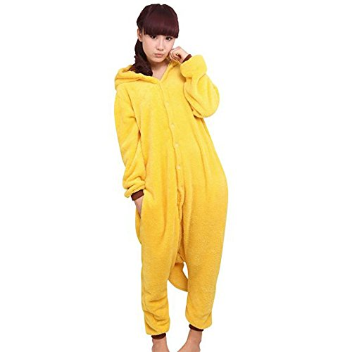 (Pikachu, S fit for Height(140cm - 150cm )(UK FBA)) - WOWCOS Unisex Adult Pikachu Onesie Cosplay Costume Pyjamas Animal Kigurumi Halloween Xmas Gift