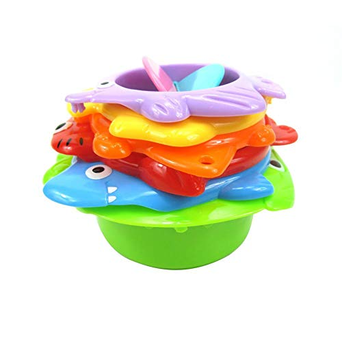 Stacking Cups Bath Toys for Toddler Sea Animal Stacker with for Sprinkling Water and Sifting Sand