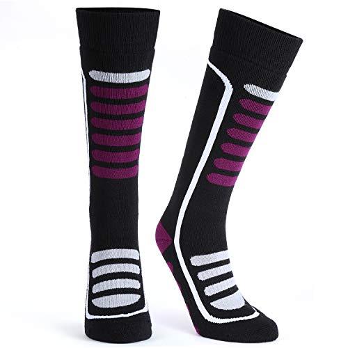 Andake Merino Schafwollsocken Warm Weich Atmungsaktiv Dehnbar Antibakteriell Socken Winter Wandersocken Männer Frauen, Rot-1 Paar, M (39-42) -