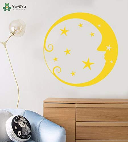 zhuziji Yoyoyu Wandtattoo Mond Gesicht Sterne Muster Wandaufkleber Für Kinderzimmer Kunstwand Removable Baby Schlafzimmer r Hause Dezember 57x57 cm