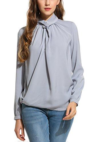 Zeagoo Damen Chiffonbluse Blusenshirt Elegant Business Bluse Falten mit Rollkragen Langarm Shirt Oberteil Grau S