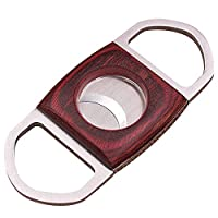 amropi Cigar Cutter Guillotine Stainless Steel Mahogany Wood Cigar Clippers in Gift Pouch 1 Pack (Silver Red x 1)