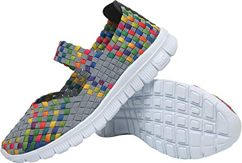 L-RUN Womens Outdoor Shoes Comfortable Daily Walking Shoes Flat Slip On Grey EU39