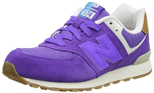 New Balance Unisex-Kinder 574 Leather Mesh Sneakers, Violett (Purple), 36 EU (Polo Klassisches Mesh Blau)