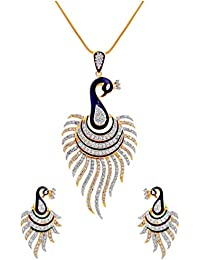 Aabhu Gold Plated Jewellery American Diamond Peacock Pendant Necklace Set With Earrings For Women And Girls
