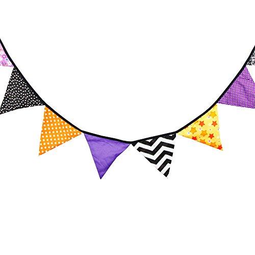 Hosaire 1x DIY Baumwoll Dreieck Flagge Ornamente Wimpel Bunting Banner Feiertags Hängende Fahne Geburtstag Halloween Weihnachts Dekorationen Lila+Schwarz