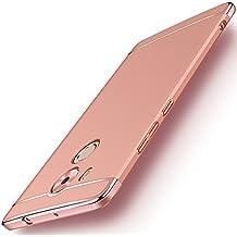 Huawei Mate 8 Funda + Anillo inteligente Sostenedor Soporte, 3 en 1 híbrido Carcasa Antideslizante, Caso Protectora Completa Ultra Delgado y Ligero, Slim Fit Anti-Choque Bumper Case Cover -Rosa Oro