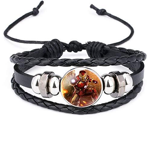 Onlyfo Armband aus Glas und Leder, Iron Man-Muster, Cabochon, 3-lagig, mit Schmuckbox, Iron Man-Armband für Jungen und Mädchen, Schwarz -