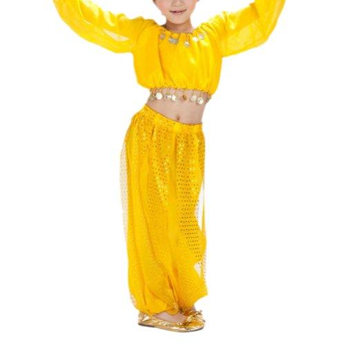 BellyLady Damen Kostüm gelb gelb - Halloween-kostüm Genie Mädchen
