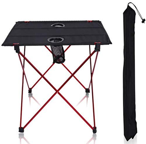 BOHENG Table Pliante, Noir, Aluminium, Oxford, Table Pliante extérieure, Table de Pique-NIC de Barbecue, avec Le Sac de Rangement, Flexible, léger