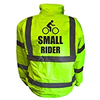 Small Rider Kids Hi Vis Yellow Bomber Jacket, Reflective High Visibility Safety Childs Coat, By Brook Hi Vis