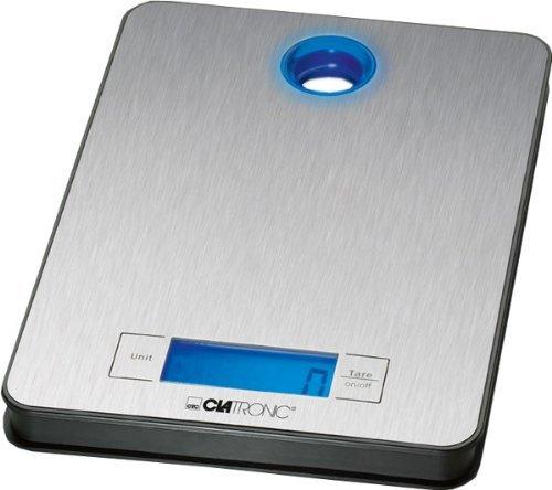 Clatronic 271680 KW 3412 Küchenwaage, Kristall, Stahl, Silber