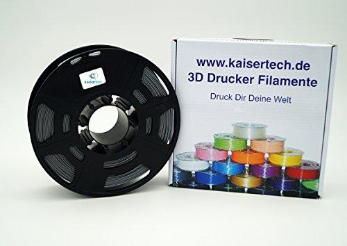Kaisertech Filament für 3D Drucker 1kg PLA/ABS 1.75mm/3mm - Premium Qualität & verschiedene Farben für MakerBot RepRap MakerGear Ultimaker uvm. (PLA 1.75mm, Silber)