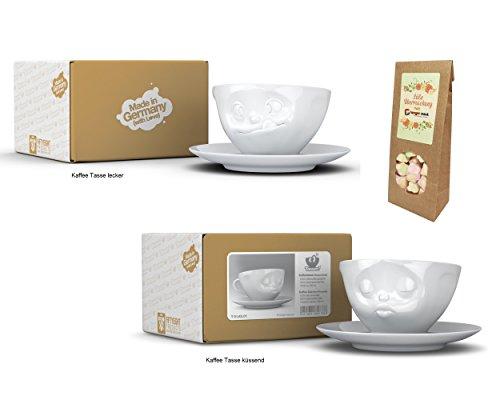 Kaffeetassen 2er SET + süße Überraschung, Fiftyeight, TV Tassen, 200 ml, LECKER+KÜSSEND