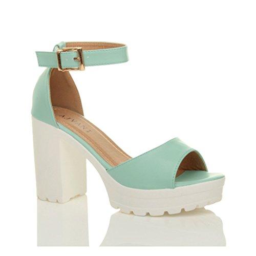 Femmes talons hauts bout ouvert sandales compensées semelle crantée pointure Menthe bleu mat