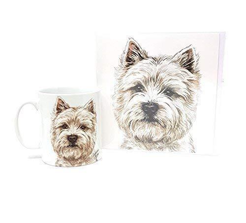 Ensemble 2 pièces Westie terrier écossais chien fabriqué en Royaume-Uni Tasse en céramique mug pot accueil anniversaire carte de Noël