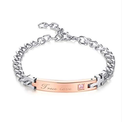 Asmei Liebe Armband Titan Stahl Inlay Zirkon Armband 2 Farben Optional Senden Liebhaber 8,46 Zoll (Color : Gold)