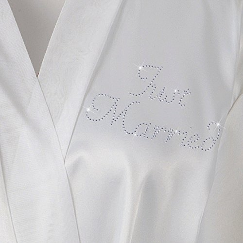Just Married Satin Fleece Strass Bademantel Wedding Day personalisierbar Honeymoon Bademantel Weiß Elfenbeinfarben