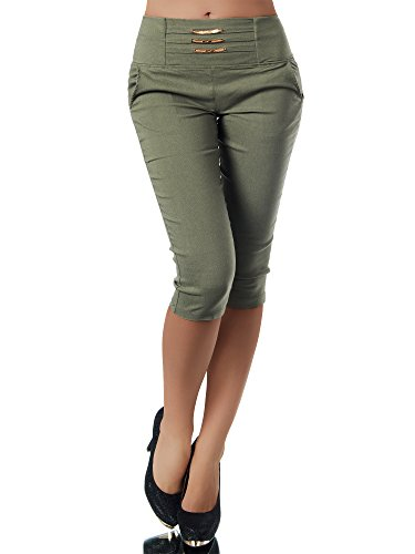 Diva-Jeans N828 Damen Caprihose Treggings Leggings Stoffhose Sommerhose Knielang 3/4 Capri, Größen:S, Farben:Khaki
