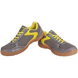 Nivia Badminton Flash Shoes, Men's UK 8 (Dark Grey/Yellow)