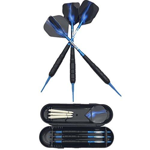 SWAMPLAND 3 Stück Soft Tip Dartpfeile Set für Elektronische Dartscheibe mit Hard Box Case, Aluminium Schaft, Standard PET Flights,19g,Blau
