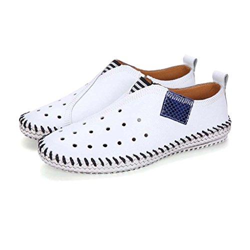 ZXCV Scarpe all'aperto Personalità Uomo Hole Hole Scarpe in pelle bianca traspirante Scarpe uomo casual scarpe pigri Bianca