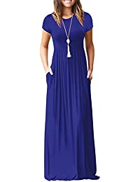 Kidsform Women's Casual Short Sleeve Maxi Dress Loose Long Dresses with Pockets